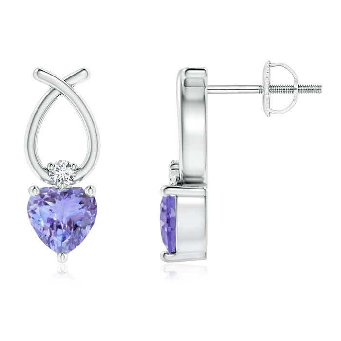 Angara Platinum Pear Shaped Tanzanite Earrings hmnHe
