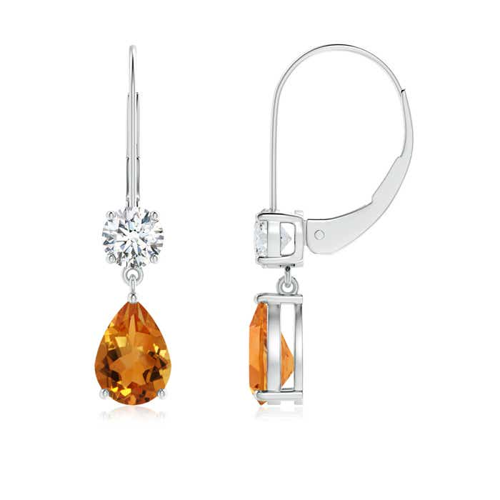 Angara Bezel Drop Citrine Solitaire Earrings with Diamond in Yellow Gold AaUvUrp