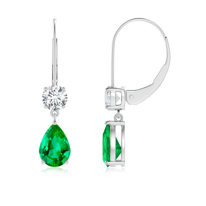 Angara Pear Emerald Leverback Earrings in Platinum