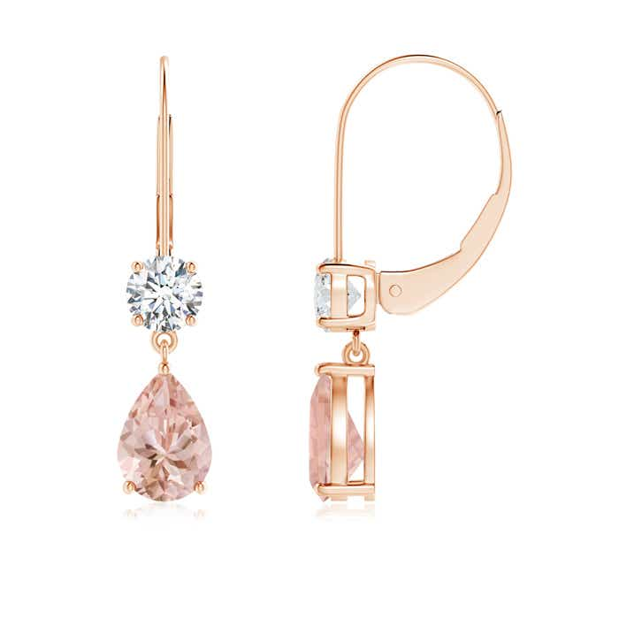 Angara Cocktail Morganite Earrings in White Gold