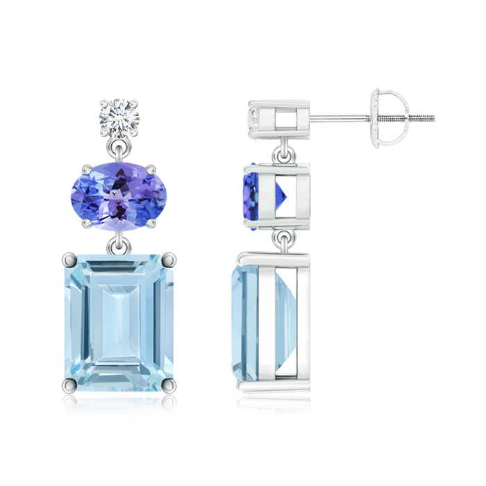 Angara Aquamarine, Tanzanite and Diamond Dangle Earrings in Yellow Gold