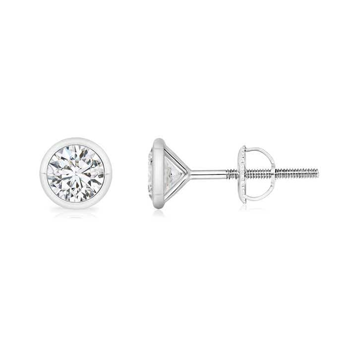 handmade carat unique white bezel set platinum earrings stud gold diamond certified