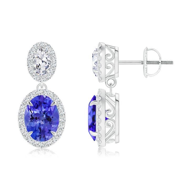 Angara Oval Tanzanite Halo Stud Earrings with Milgrain Detailing 4v43j87o
