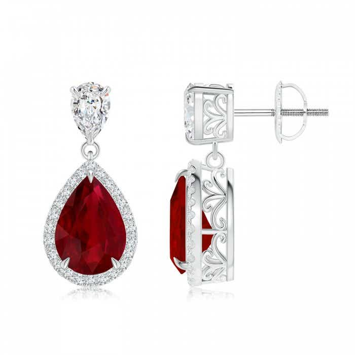Angara Pear Shaped Ruby Dangle Earrings in White Gold nEVAqJq