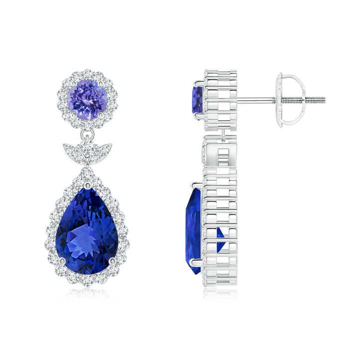 Angara Round Tanzanite and Diamond Halo Earrings in Yellow Gold XB3OeqIl