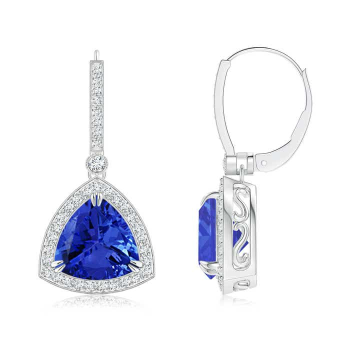 Angara Claw-Set Trillion Tanzanite Halo Earrings