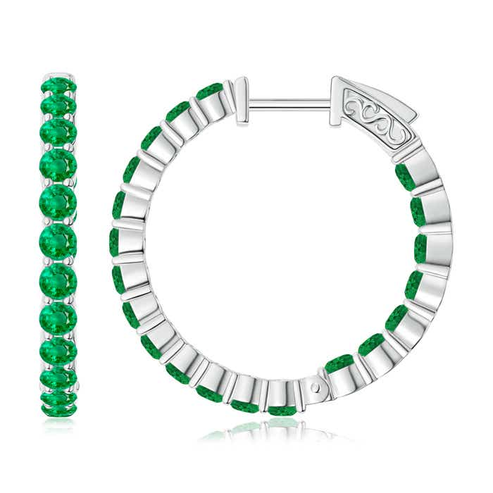 Angara Round Emerald and Diamond Inside Out Hoop Earrings QKrlPhkoUR