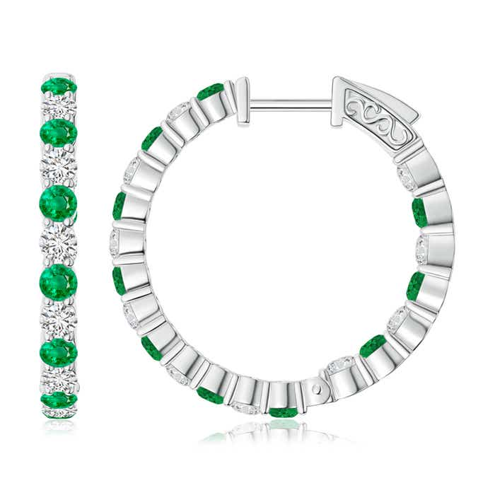Angara Round Emerald Inside Out Hoop Earrings eVqpqZkCW