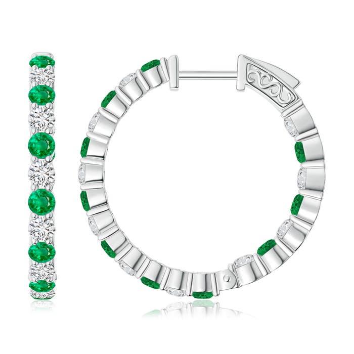 Angara Round Emerald Inside Out Hoop Earrings UWIEX