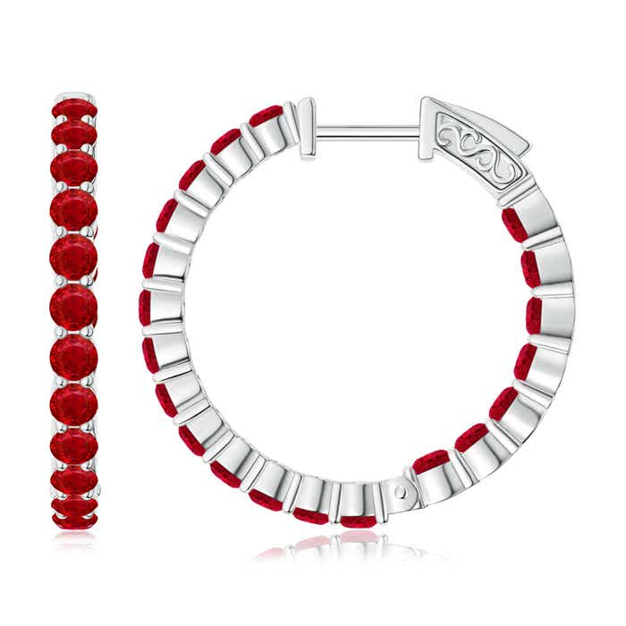 Angara Round Ruby Inside Out Hoop Earrings fzWIgn