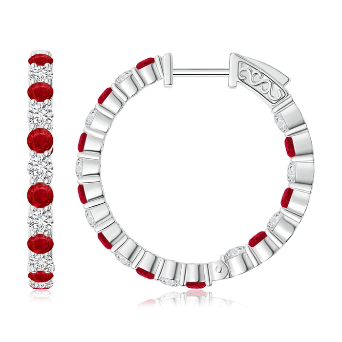 Angara Round Ruby and Diamond Inside Out Hoop Earrings gUedj