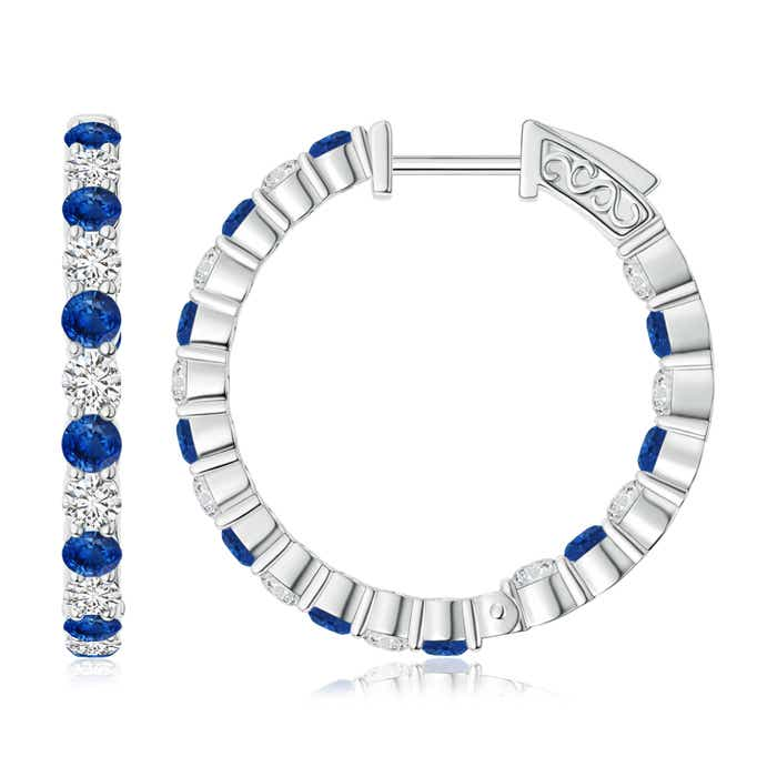 Angara Round Sapphire and Diamond Inside Out Hoop Earrings kqy3SrH