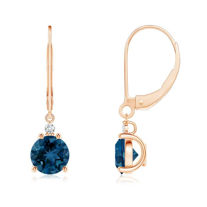 Angara London Blue Topaz Leverback Drop Earrings in Yellow Gold