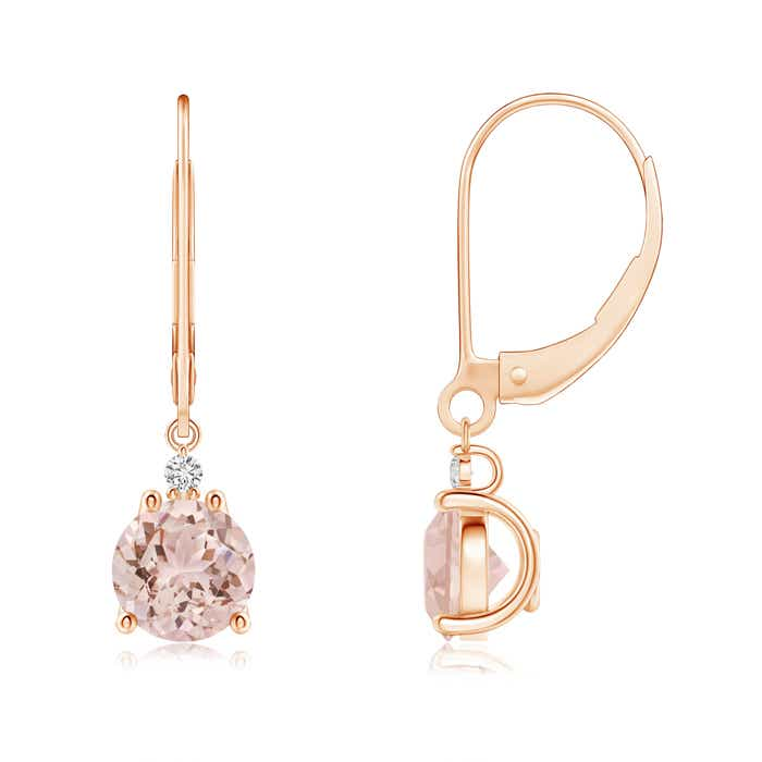 Angara Round Diamond Hoop Earrings for Women in Rose Gold