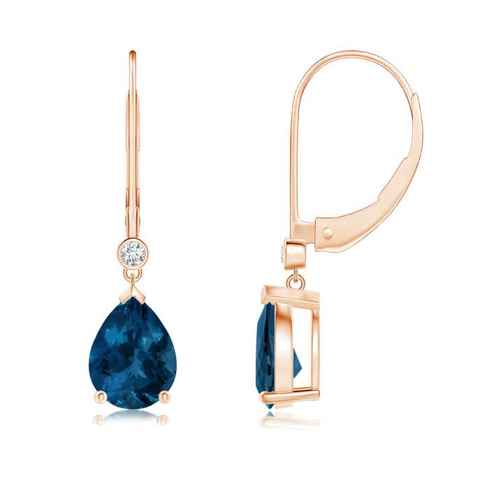 Angara Pear-Shaped London Blue Topaz Drop Earrings with Diamonds GSpd5