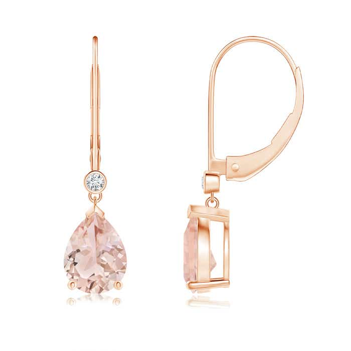 Angara Two Tier Morganite Drop Earrings with Diamond Halo Mj3xE