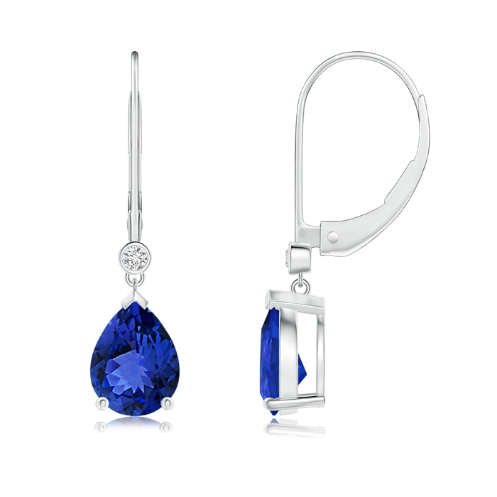 Angara Round Tanzanite Leverback Dangle Earrings with Diamond in Platinum uKN9w