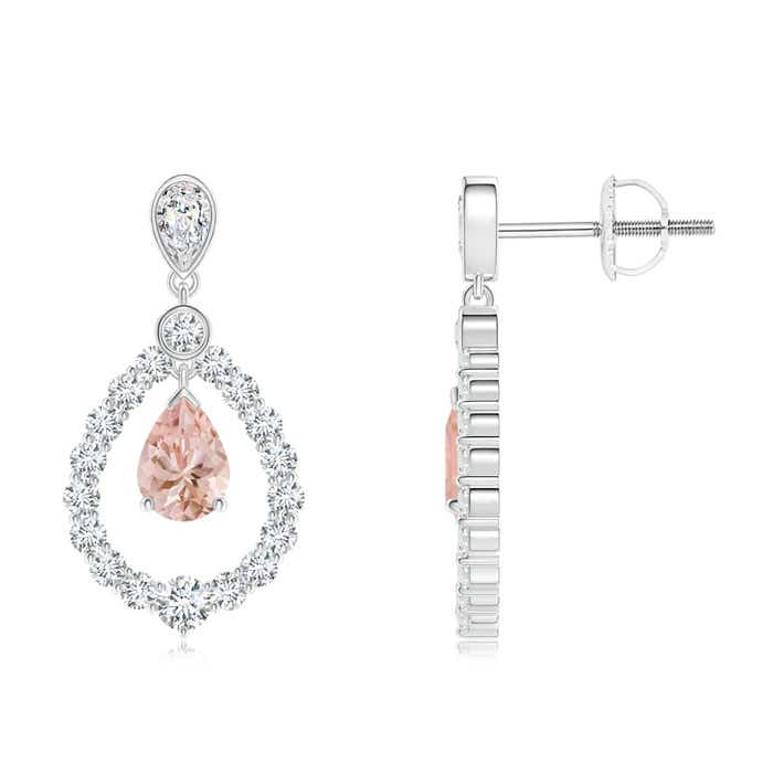 Angara Pear Morganite Teardrop Earrings with Diamond Frame Vszyt3r4O8