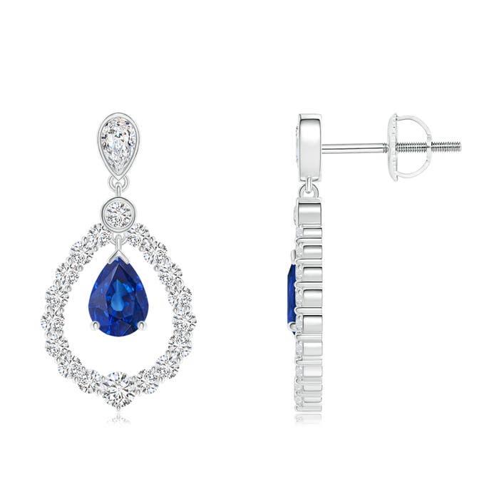 Angara Heart Sapphire and Diamond Cross Earrings in Platinum 36IzvG9HaK