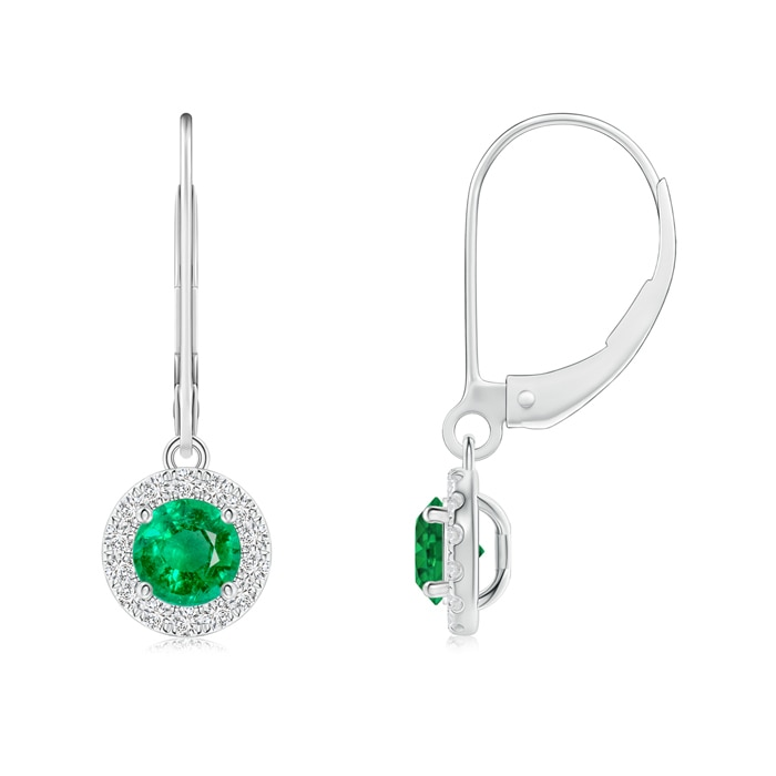 Angara Round Emerald Diamond Halo Dangle Earrings in White Gold bvC0T