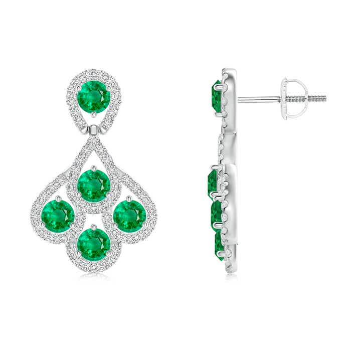 Angara Emerald Dangling Earrings in White Gold d5Z5Kkc8