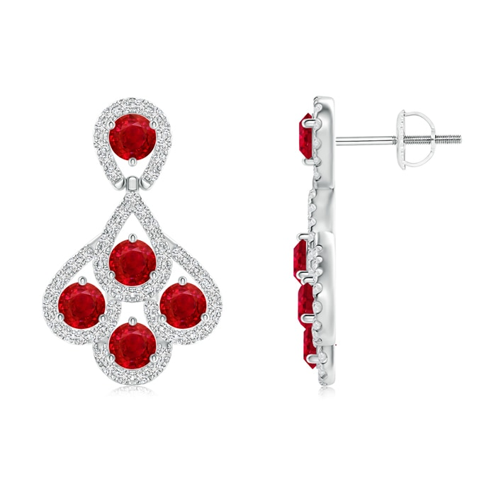 Angara Round Ruby Dangling Earrings in Platinum LOp5wc0Ap