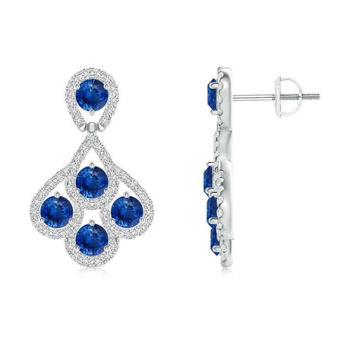 Angara Sapphire Dangle Earrings with Diamond Outline