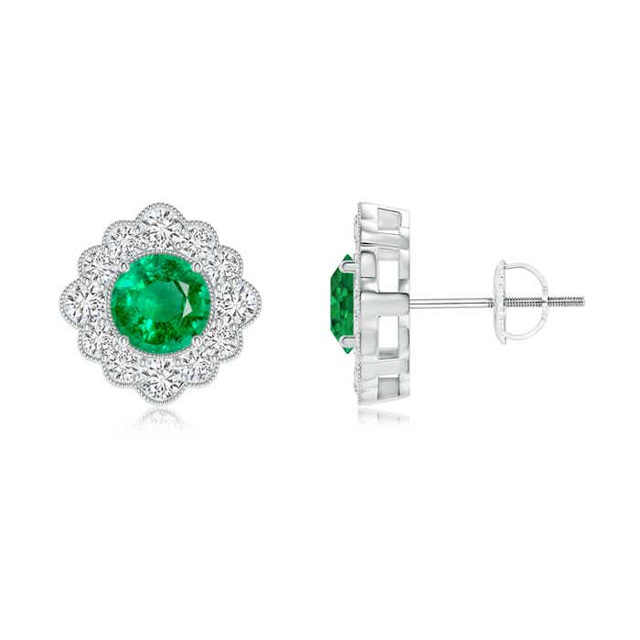 Angara Round Emerald and Diamond Halo Stud Earrings in White Gold