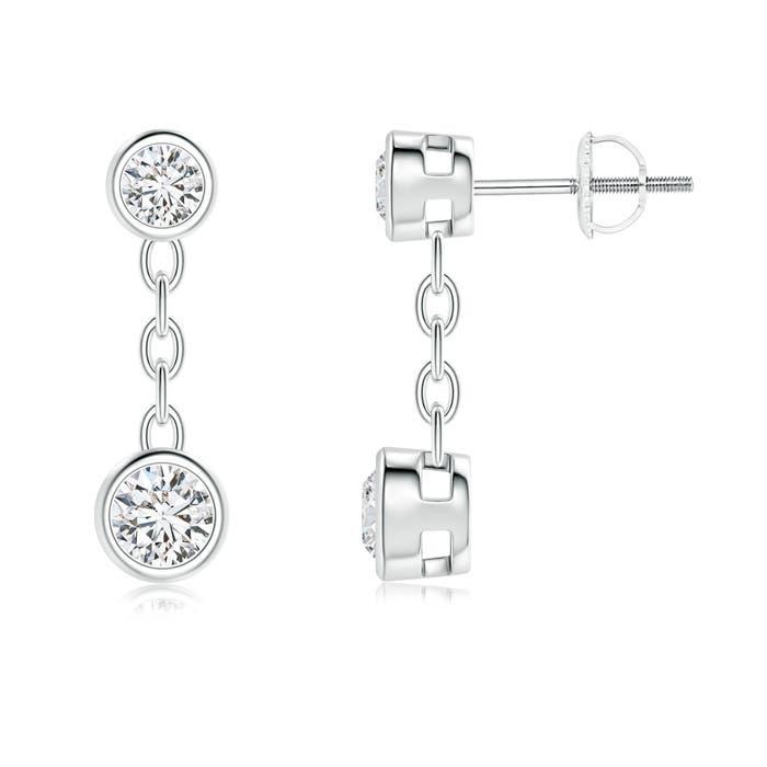 Angara Bezel Set Two Stone Diamond Dangling Earrings in Yellow Gold txml62
