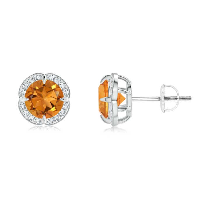 Angara Claw-Set Citrine Clover Stud Earrings