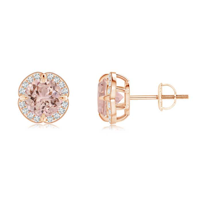 Angara Bezel-Set Morganite and Diamond Halo Stud Earrings uXfukKDbV2