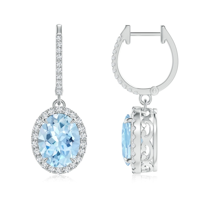 Angara Dangling Aquamarine and Diamond Halo Earrings in White Gold Vn3s0M