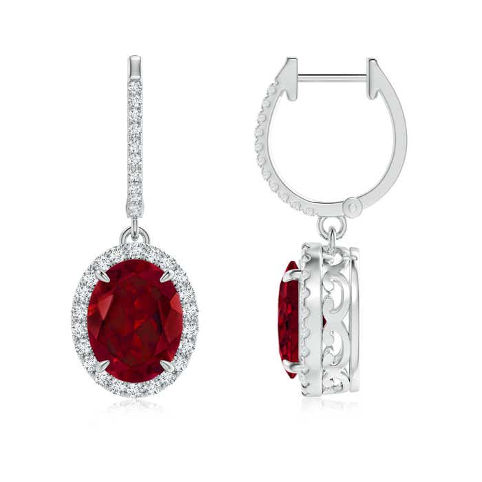 Angara Diamond Halo Garnet Dangle Earrings in White Gold