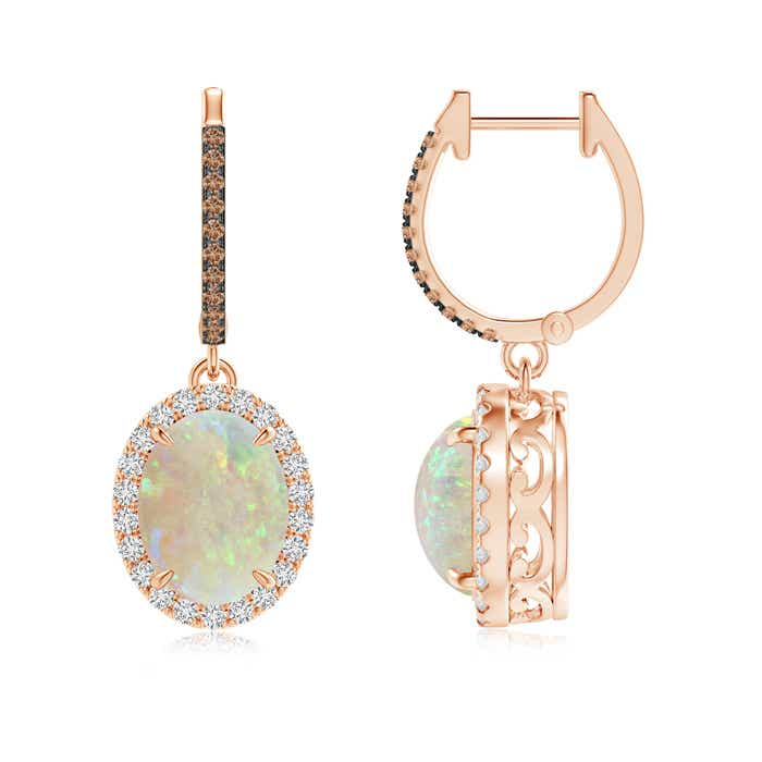 Angara Oval Opal Dangle Earrings with Coffee and White Diamond MuQa6jCv