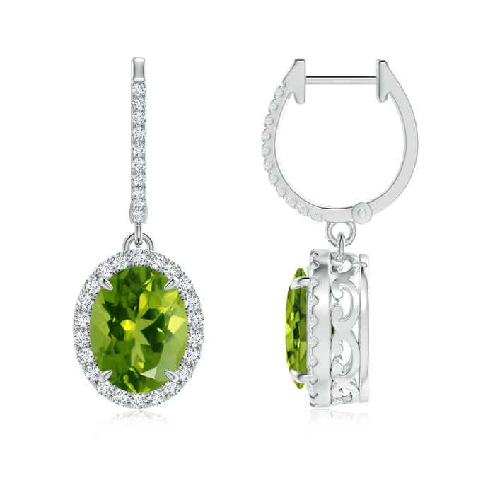 Angara Diamond Halo Peridot Dangle Earrings in Yellow Gold