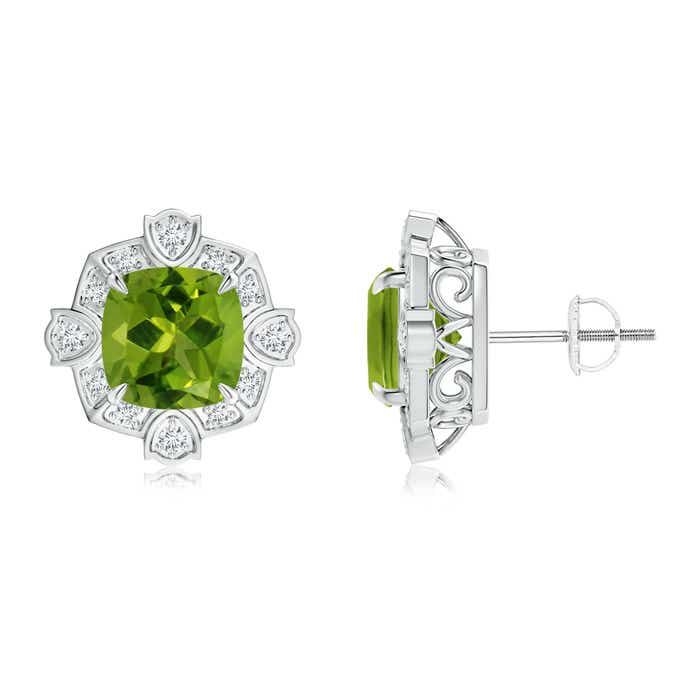 Angara Peridot and Diamond Halo Stud Earrings in Platinum ejqVl1Ul