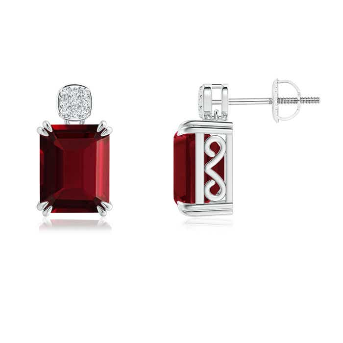 Angara Claw Emerald-Cut Garnet Solitaire Earrings in Yellow Gold