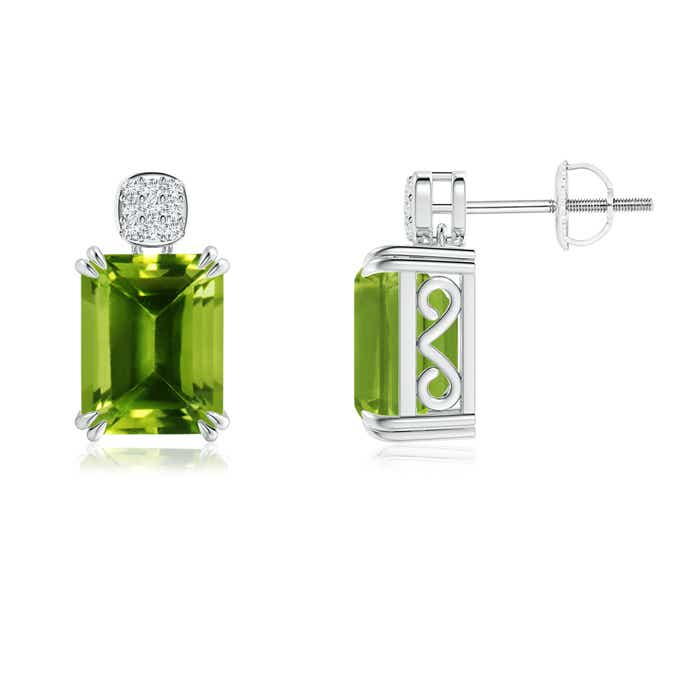 Angara Emerald-Cut Peridot Cocktail Earrings in White Gold shDqk