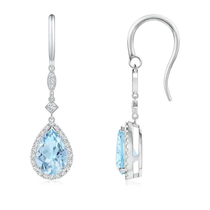 Angara Aquamarine Dangle Earrings in Yellow Gold 5qbIQKWyjj