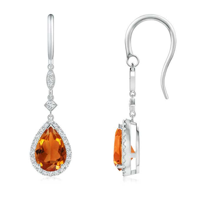 Angara Pear Shaped Citrine Earrings in Yellow Gold 4YIEGw