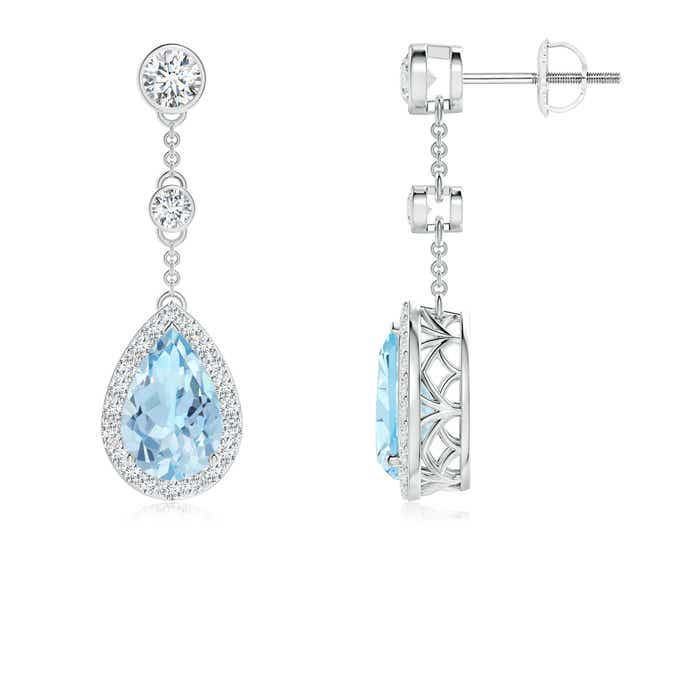 Angara Round Aquamarine Diamond Halo Dangle Earrings in White Gold oAfUyfK0t5