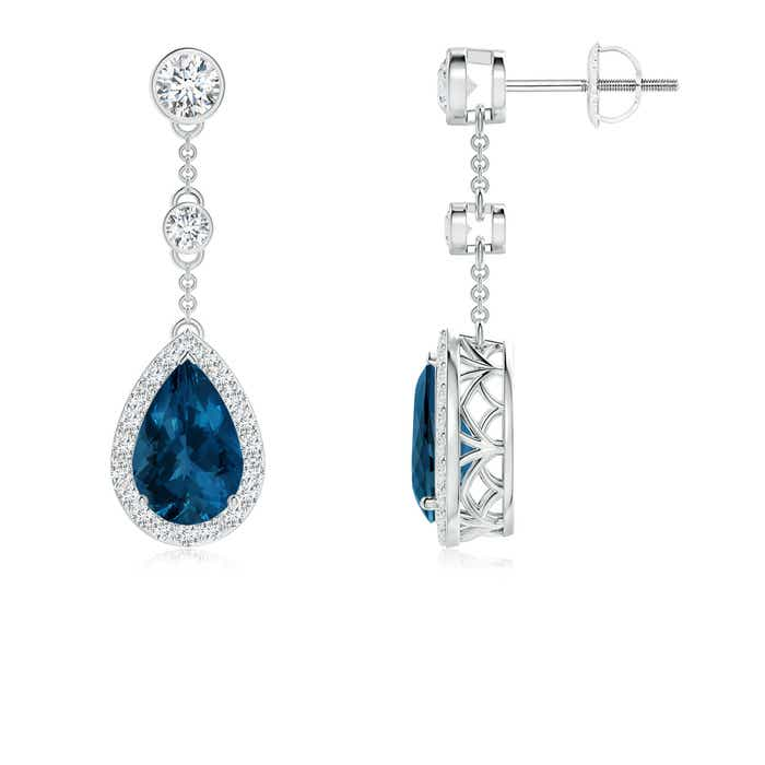 Angara Pear Shaped London Blue Topaz Leverback Drop Earrings in Rose Gold qk8GE