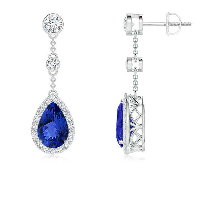 Angara Round Tanzanite Dangle Earrings with Diamond Halo in Platinum 0YcJI