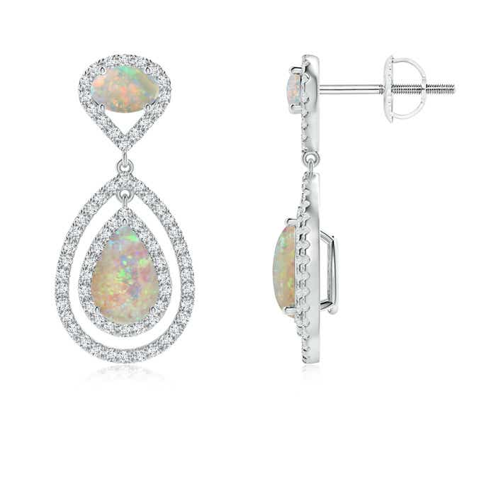 Angara Floating Halo Diamond Drop Earrings