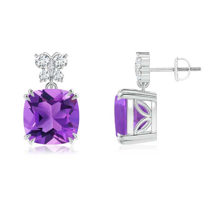 Angara Claw-Set Cushion Amethyst Beaded Halo Stud Earrings TL2Pcx