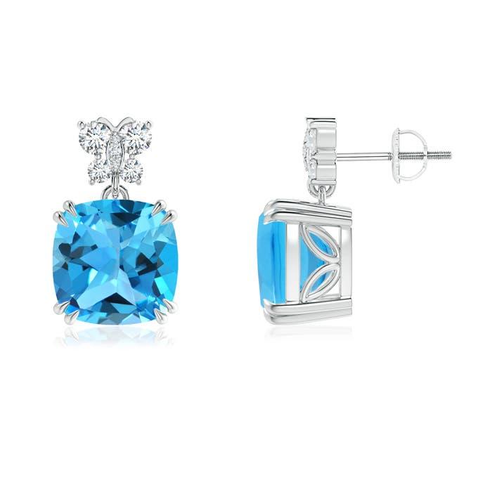 Angara Swiss Blue Topaz Dangle Earrings with Diamond Butterfly Motifs URIjSIffS
