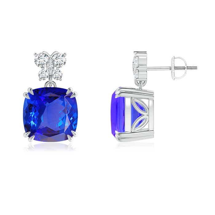 Angara Victorian Style Cushion Tanzanite Halo Stud Earrings 0235k0k7SM