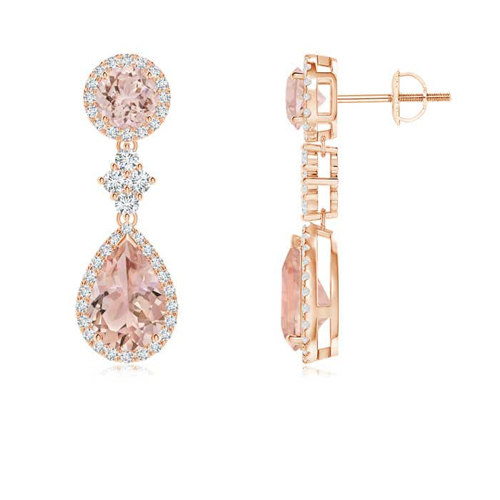 Angara Two Tier Morganite Drop Earrings with Diamond Halo zvBoNcQ0