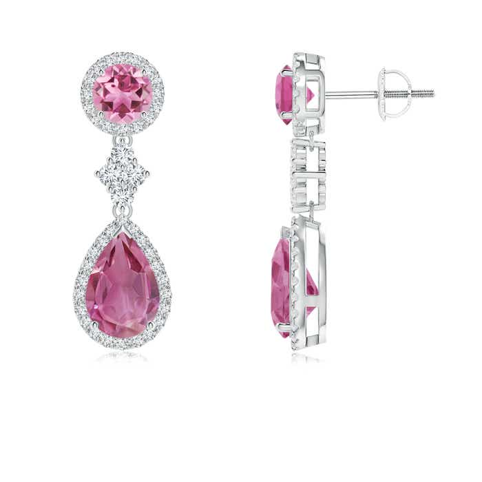Angara Round Pink Tourmaline Diamond Halo Dangle Earrings in Platinum Qd927