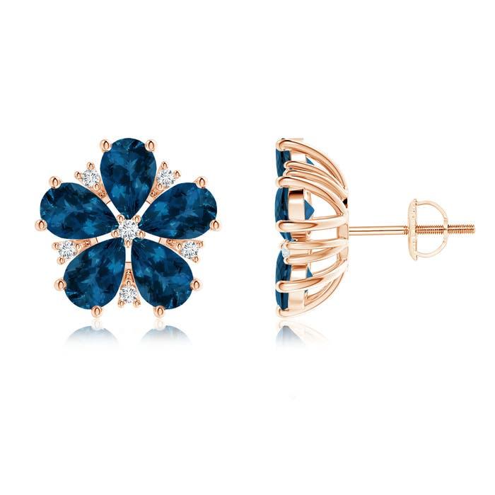 Angara Pear-Shaped London Blue Topaz Stud Earrings with Diamonds ezPPWY9b